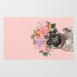 Pug with Flower Crown Rug