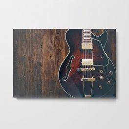 Guitar on Wood Metal Print