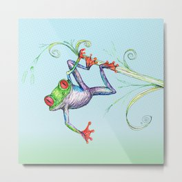 A tree frog hanging on a leaf Metal Print