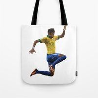 neymar Tote Bags featuring World Cup - Brazil - Neymar by HonickDesign