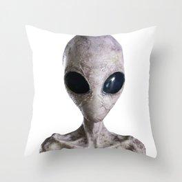 white alien from Jupiter Throw Pillow