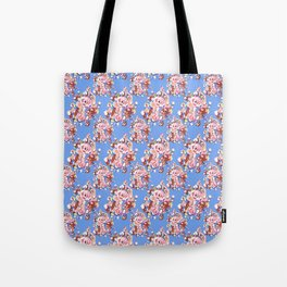 Blue Textile Tote Bag