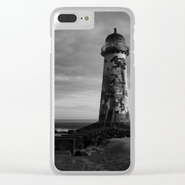 Talacre Lighthouse Black And White Clear iPhone Case