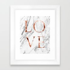 Rose gold marble LOVE Framed Art Print