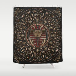 King Tutankhamun mask in circular ornament Shower Curtain
