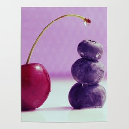 Food Design fresh Cherry and Bluebeeries Poster