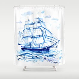 Set the sails! All aboard the Morgenster Shower Curtain