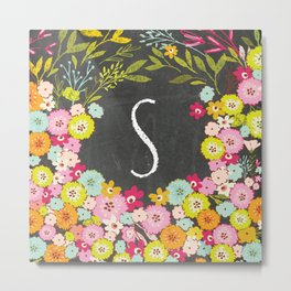 S botanical monogram. Letter initial with colorful flowers on a chalkboard background Metal Print