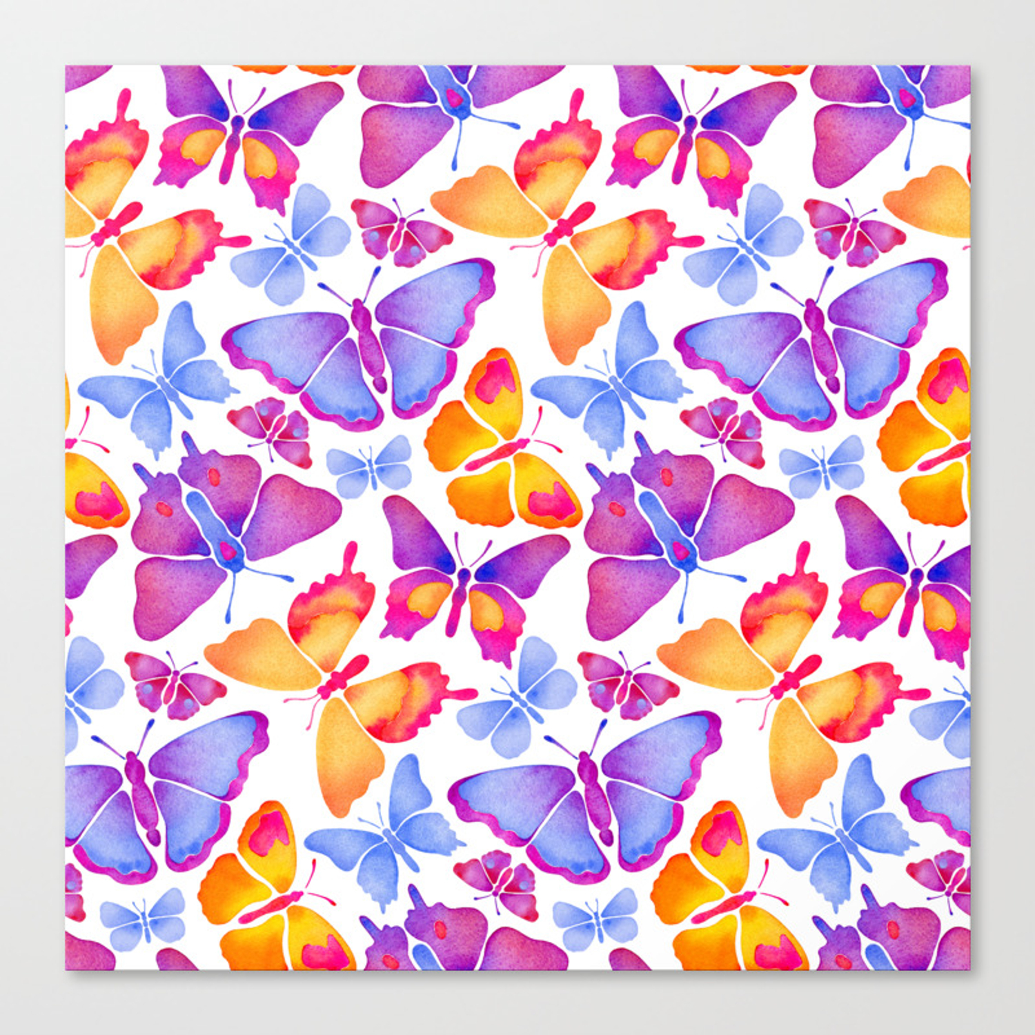 Colorful Butterfly Watercolor Canvas Print By Nikieldesign Society6
