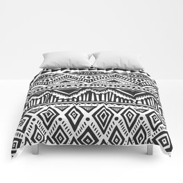 zig-zag handdrawn black and white Comforters