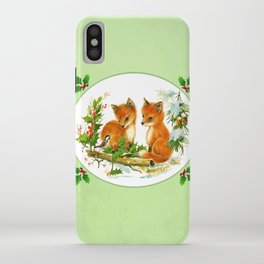Vintage Christmas Foxes iPhone Case