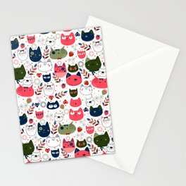 Lovely Cats Pattern for Cats Lovers. Stationery Cards
