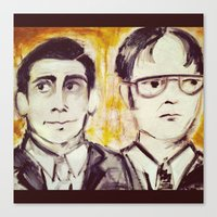 dwight Canvas Prints featuring Michael & Dwight by Melissa Dilger