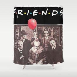 Psychodynamics Horror Characters Friends Shower Curtain