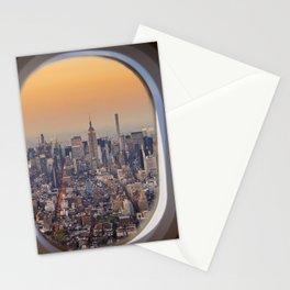 New York skyline from airplane window Stationery Cards