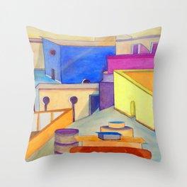 La Ciudad Azul Throw Pillow