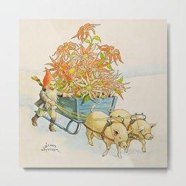 """Poinsettia Wagon"" by Jenny Nystrom Metal Print"