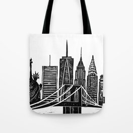 Linocut New York Tote Bag