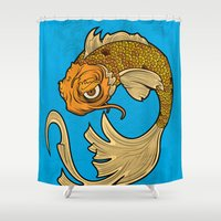 shameless Shower Curtains featuring The Disgruntled Koi by Laz Llanes