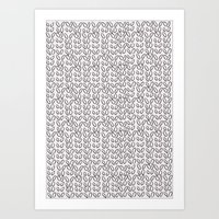 Knitting Knit Pattern - Doodle - Black and White Ink Art Print