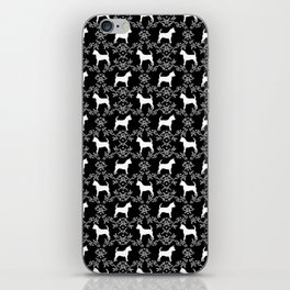 Chihuahua silhouette black and white florals flower pattern art pattern dog breed iPhone Skin