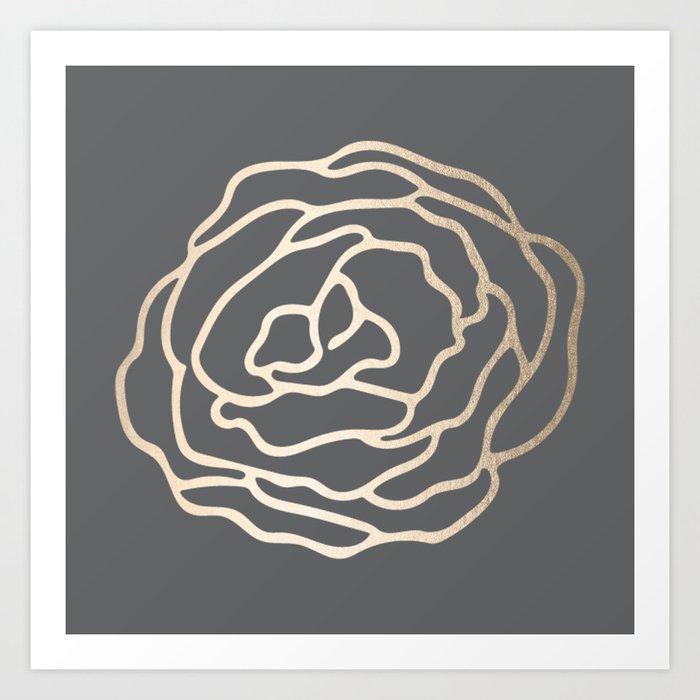 Rose White Gold Sands on Storm Gray Art Print
