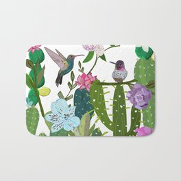 Cactus, Succulents and Humming Bird. Tropical Pattern Bath Mat