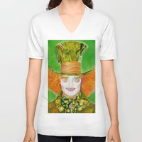 mad hatter V-neck T-shirts featuring Hatter by Aliece Carney