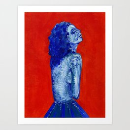 blue girl in blue skirt 2 Art Print
