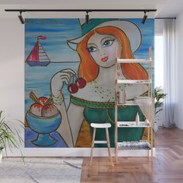 Portrait of a burlesque ginger girl with ice cream painting by Ksavera Wall Mural