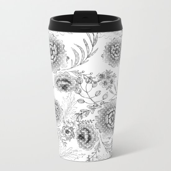 Black and white watercolor floral pattern with polka dots . Metal Travel Mug