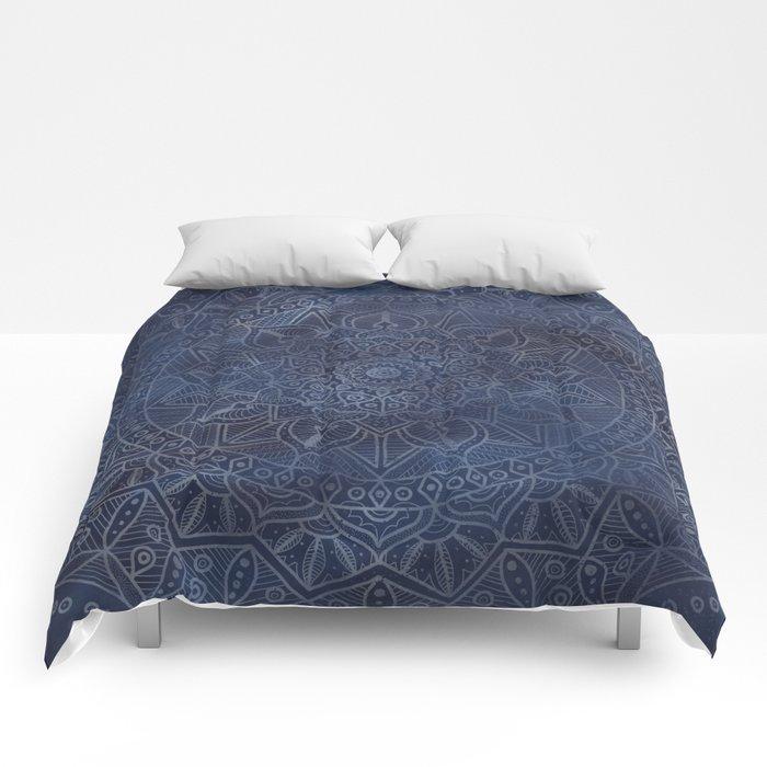 Vintage Circle of Life Mandala full color on blue swirl Distressed Comforters