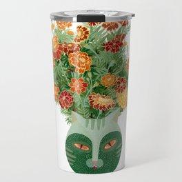 Marigolds in cat face vase  Travel Mug
