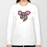 piglet Long Sleeve T-shirts featuring Zombie Piglet by Kojó Tamás