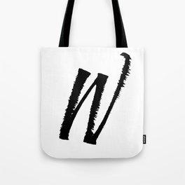 Letter W Ink Monogram Tote Bag