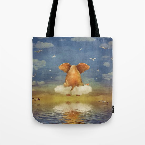 Sad elephant sitting on cloud in  sky  Tote Bag