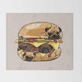 Pugs Burger Throw Blanket