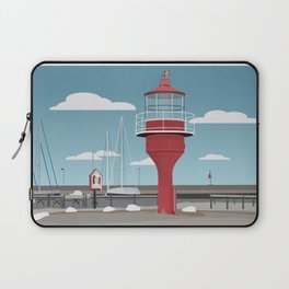 The lighthouse in the harbour in Skanor - light Laptop Sleeve