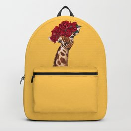 Giraffe with Rose Flower Crown in Yellow Backpack