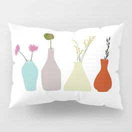 Vases with flowers and twigs in pastel colors Pillow Sham