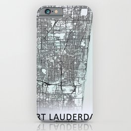 Fort Lauderdale, FL, USA, White, City, Map iPhone Case