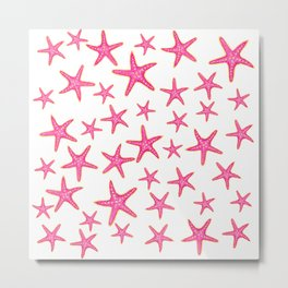 Summer pink neon watercolor gold starfish pattern Metal Print