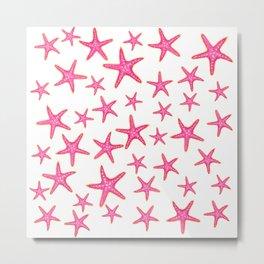 Summer pink neon watercolor gold starfish pattern Metal Print