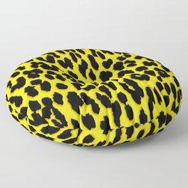 Bright Yellow & Black Leopard Print Floor Pillow