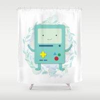 bmo Shower Curtains featuring BMO love by fox bear designs
