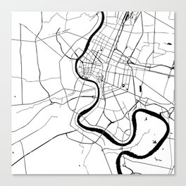 Bangkok Thailand Minimal Street Map - Black and White Canvas Print
