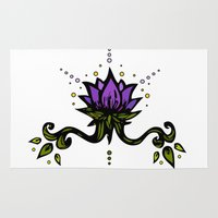 lotus flower Area & Throw Rugs featuring Lotus by Virginia Skinner