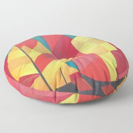 Cubist Abstract of Junk Sails and Ocean Skies Floor Pillow
