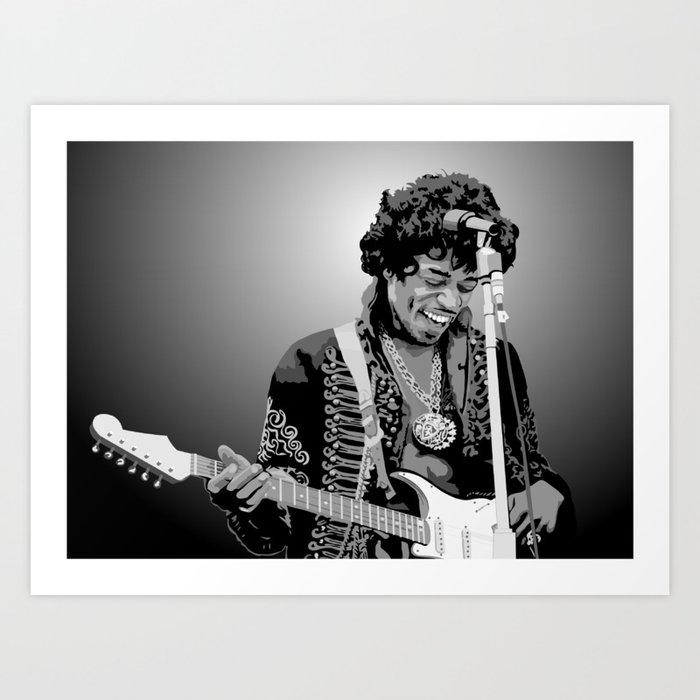Jimi Hendrix Black And White Illustration Kunstdrucke