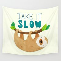 sloth Wall Tapestries featuring Sloth by Claire Lordon